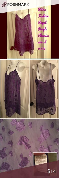 Petra Fashion 💜 Royal Purple Sheer Chemise Roses Petra Fashion royal purple sheer chemise with applied rose design. Marked size XL - should fit size 12, 14, 16. Made in the USA. Excellent condition - no flaws to note. petra fashions Intimates & Sleepwear Chemises & Slips