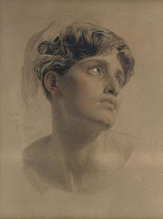 Study for Antigone, Anthony Frederick Augustus Sandys. English Pre-Raphaelite Painter (1829 - 1904) - Pencil, Black, Red and White Chalk -