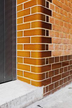 "Emil Eve Architects retain historic ""quirks"" in Shoreditch warehouse conversion Brick Cladding, Brick Facade, Brickwork, House Cladding, Glazed Brick, Glazed Tiles, Brick Architecture, Architecture Details, Brick Design"