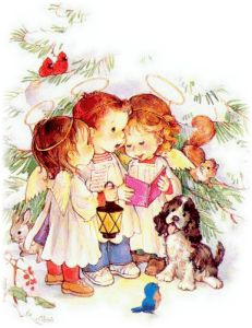 Little angels and their puppy caroling