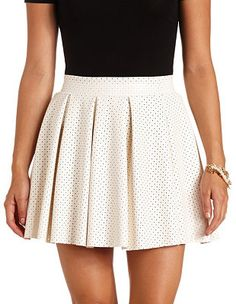 Perforated Faux Leather Pleated Skater Skirt: Charlotte Russe
