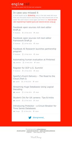 EngineRed sent this email with the subject line: Facebook open sources rich text editor Draft.js - Read about this email and find more email digest emails at ReallyGoodEmails.com #app #emaildigest #newsletter #publication