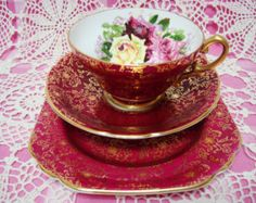 Gorgeous Vintage Foley Roses FLORENCE Cup by AThousandBlooms
