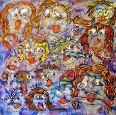 """For Sale: The Crowd by Penelope Przekop   $750   36""""w 36""""h   Original Art   https://www.vangoart.co/penelopeprzekop/the-crowd @VangoArt"""