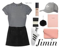 """""""Spring Date with Jimin"""" by sunshine-hippie-girl ❤ liked on Polyvore featuring Monki, adidas Originals, Topshop, Nude by Nature, H&M, Falke, adidas, bts and jimin"""