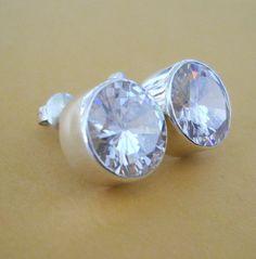 HUGE 16ct Clear CRYSTAL QUARTZ CZ Sterling Silver EARRINGS Studs 8 CARATS Each | eBay