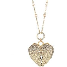 Betsey Johnson Heaven Sent Mirrored Heart Pendant Necklace ($68) ❤ liked on Polyvore featuring jewelry, necklaces, gold, betsey johnson necklace, heart necklace, wing necklace, heart jewelry and heart pendant
