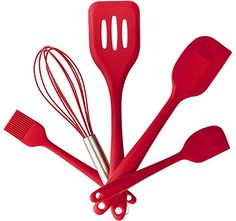 Tosnail Premium Silicone Kitchen Utensils Set 5 Piece in Hygienic Solid Coating Red >>> Want additional info? Click on the image.