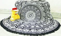 Rugs – Round Black White Elephant Mandala Tapestry  – a unique product by IndianCraftPalace on DaWanda