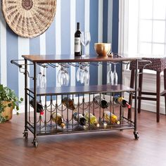 Wooden Bar Cart Trolley Brown Brown Mahogany Finish 3 Shelves Kitchen Furniture