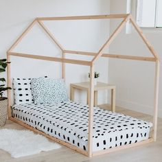 Twin Size House Bed Frame Make bedtime an exciting experience with our house shaped bed frame! House Beds For Kids, Toddler House Bed, Diy Toddler Bed, Toddler Floor Bed, Twin Size Toddler Bed, Kid Beds, House Frame Bed, Diy Bed Frame, Wood Canopy Bed