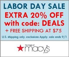 Macy's extra 20% off.