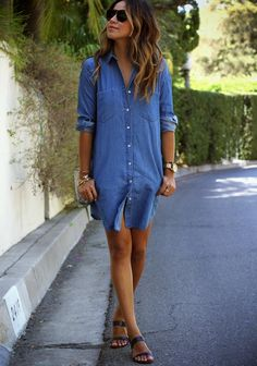 How to Style a Denim Dress For Spring 2015 - button down denim mini dress worn with minimalist sandals + gold accessories