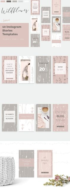 Wild flower Patterns + Templates Set by Youandigraphics on @creativemarket
