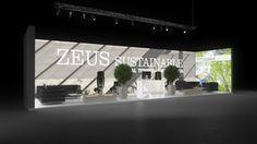 431 Heizungsanlagen Zeus Sustainable | Beeindruckender Messestand für einen Hersteller von Heizungsanlagen.   Der weiße Logodruck in großen Lettern auf der hinterleuchteten Rückwand sch...