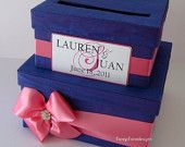 wedding card box money holder gift card box bridal shower card box, Custom Made to Order. $92.00, via Etsy. Are these your colors??