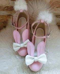 FREE Shipping Worldwide! These kawaii bunny rabbit ear shoes are just the sweetest lolita inspired high heels you'll ever own! With an elegant block heel, removable pom pom bunny tails and bunny ears, these are comfortable to walk in AND to wear. A secure buckle strap around the ankle helps with stability, and a Rabbit Ears, Bunny Rabbit, Baby Buns, Kawaii Bunny, Lolita Shoes, Bunny Tail, Pink Cat, Thick Heels, Kawaii Clothes