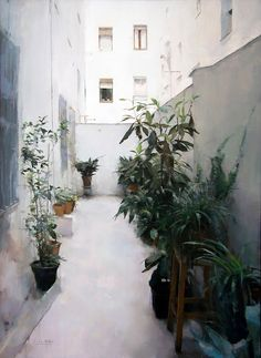 Interior landscape - Oil on wood 100 x 173 cm. Private collection.