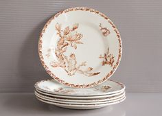 Set of 6 French antique plates from Gien. & Cheese Plate set of 6   French cheese plate in porcelain   French ...