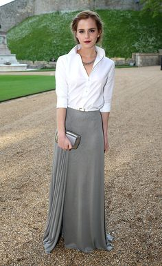 With regal sophistication, actress Emma Watson wore a Ralph Lauren Collection silk-jersey evening skirt and button-front shirt to a charity dinner at Windsor Castle hosted by HRH The Duke of Cambridge to celebrate the work of The Royal Marsden. #RLinLondon