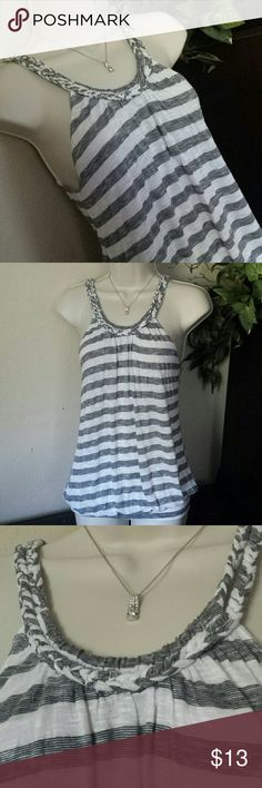 cute white & gray tiny top (sz s/m) Tag is ripped off.  Size looks like it fits a small and medium just fine. It has a beautiful rope like neck line.  You can wear it like my sister as a short dress or as a nice top like shown on mannequin. It's your choice!  :)   Can be worn as a shirt or short dress Fits a small and medium size  100% Rayon Tops