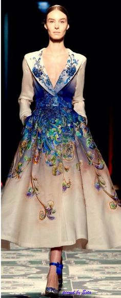 http:/wp.me/p8rEVD-gzJean Paul Gaultier ~ Couture Spring Sweetheart Neckline Flared Skirt Midi Dress. Cream w Blue Floral 2015