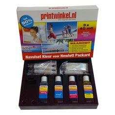 HP navulset kleur voor de cartridges met nr. 14, 17, 22, 23, 25, 28, 41, 49, 57, 78, 300, 301, 342, 343, 344, 351, 364, 901 & 920  Met de HP Navulset Kleur kunt u met gemak uw cartridges 8 tot 10x navullen! De inkt is onder de strengste normen geproduceerd en heeft een ISO 9001 certificaat.