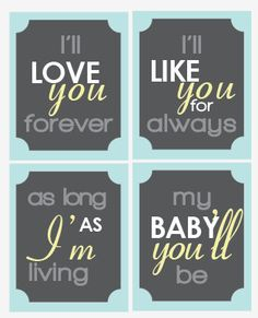 I'll love you forever  Quote Set 4  8x10 Nursery by BigMowthPrints, $45.00