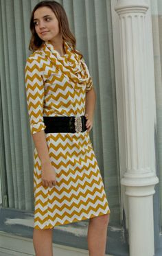 953295d7dea3 Items similar to Mustard Yellow and White Knit Chevron Dress from  GreenStyle on Etsy