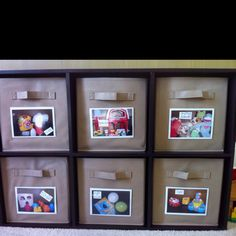 Toy organization! @Erin Orcutt Pictures help the kids know where to put the toys..