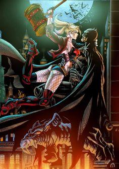 Harley Quinn by Edson Novaes, in Daryl R& Harley Quinn Comic Art Gallery Room Heros Comics, Dc Comics Characters, Comics Girls, Batman Artwork, Batman Wallpaper, Arte Dc Comics, Batman Vs, Coleccionables Sideshow, Gotham Girls