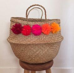 Eliza Gran Large Venice Basket with Pom-poms Sunset 2