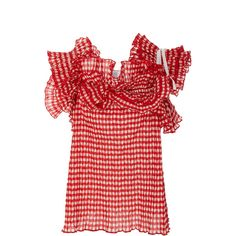 Rosie Assoulin Bearded Iris Top (€1.235) ❤ liked on Polyvore featuring tops, flounce tops, checkered top, ruffle top, red top and tie top