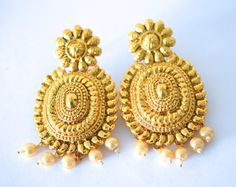 Vintage Style Gold Tone Pearl Crystal Bollywood Indian Chandelier Earring Bridal/Prom Wedding