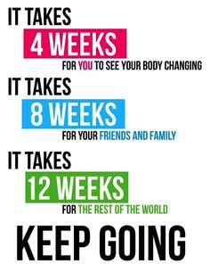 It takes four weeks for you to see your body changing. It takes eight weeks for your friends and family. It takes twelve weeks for the rest of the world. Keep going!