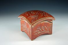 Ceramic box, slab built, carved, stoneware, curved lid, medium size on Etsy, $50.00
