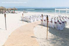 Destination Wedding Photographer || Hannah Hardaway || Punta Mita, Mexico Wedding || Casual Beach Wedding || Mexican Themed Colorful Wedding || Beach Ceremony || Palm Fronds || Tiki Torches ||  www.hannahhardawayphoto.com