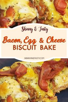 Bacon, Egg, and Cheese Biscuit Bake Make Ahead Breakfast Casserole, Breakfast Bake, Sweet Breakfast, Perfect Breakfast, Breakfast Recipes, Breakfast Ideas, Dinner Recipes, Bacon Egg And Cheese, Cheese Biscuits