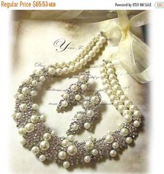 A personal favorite from my Etsy shop https://www.etsy.com/listing/113113174/bridal-jewelry-set-pearl-necklace