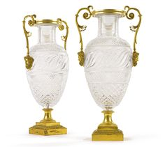 A pair of important Russian cut glass vases with gilt bronze mounts, Imperial Glassworks, St. Petersburg, circa 1825 | lot | Sotheby's