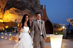 «We fell in love with this Greek island from the first time we visited the island…we always said that it would be the best place to have our wedding Bridal Gowns, Wedding Gowns, Best Wedding Blogs, Wedding Reception Entrance, Santorini Wedding, Perfect Wedding Dress, Beautiful Couple, Real Weddings, Boho Fashion