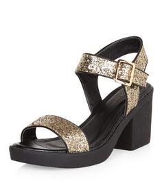 d43241c9 Gold Glitter Ankle Strap Block Heel Sandals Gladiator Sandals, Flat  Sandals, Block Heels,