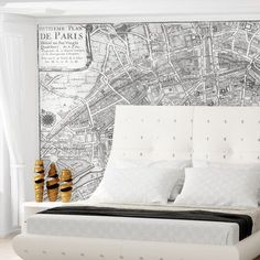 """Swag Paper Paris Wall Mural Color: Black and White, Size: 96"""" H x 120"""" W"""