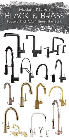 black & brass kitchen faucet mood board via Simply Grove kitchen fixtures Delta Trinsic Single Handle Pull-Down Kitchen Faucet Champagne Bronze Black Kitchen Faucets, Kitchen Hardware, Kitchen Fixtures, Faucet Kitchen, Plumbing Fixtures, Brushed Brass Kitchen Faucet, Brass Tap, Bathroom Black, Kitchen Black