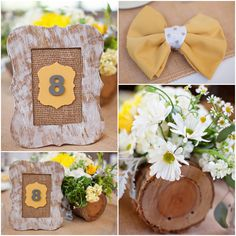 Rustic Wedding Table Numbers and napkin