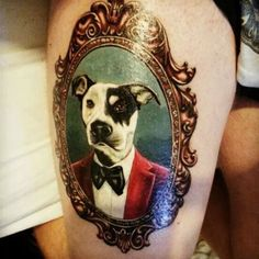 ️Dog  wearing a Suit inside a Frame Tattoo