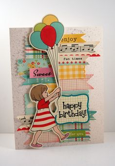 Birthday Card: Love the layers! A similar look could be recreated with Nested Pannants and Labels Eight or Labels One!