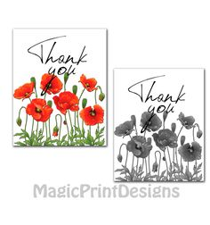 Thank you Poster Love thank you cards set by MagicPrintDesigns