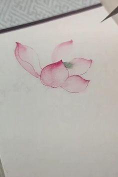 Watercolor Paintings For Beginners, Watercolor Art Lessons, Watercolor Techniques, Watercolor Flowers Tutorial, Floral Watercolor, Painting & Drawing, Coral Painting, Lotus Flower Pictures, Flower Drawing Tutorials