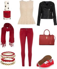 """Red outfit"" by emilycarmichael ❤ liked on Polyvore"